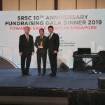 Mr Poh receiving the Gold Donor Token of Appreciation from Mr Bernard Tay [L-R : Mr Bernard Tay (Chairman, Singapore Road Safety Council), Mr Poh Kay Leong, and Mr Ng Kok Cheong (Council Member)]